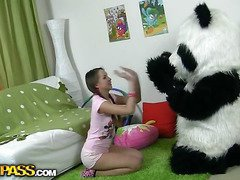 In this unusual sex movie scene u'll watch a nice-looking teenage cutie playing with toy. But it's not just a toy, it's a big panda bear, and this guy's so pleasure to play with! This Chab can do anything the cutie wants, but this chick should disrobe in nature's garb in return. But imagine the angel's surprise when that chick saw panda's biggest belt on! This Playgirl had not at any time thought of him as sex partner previous to, but since this chab's so well-equipped and horny, why not go for a wicked sex play with him? So the panda bear group-fucked the breasty teenage in all possible positions ...
