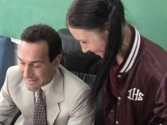 Enjoyable schoolgirl seduces an adult male to use his schlong